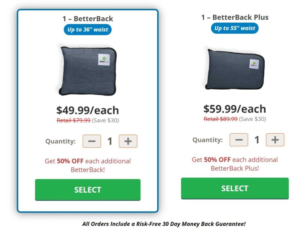 Order BetterBack Now