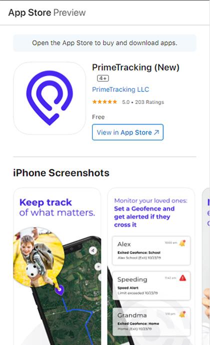 PrimeTracking Tracker AppStore