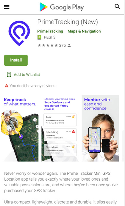 PrimeTracking Tracker Google Play Store