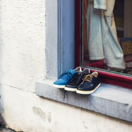 Shoes stored on the window outside